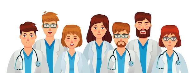 Grupo de médicos. equipo de personal médico profesional, clínica uniforme, enfermera y cirujano con estetoscopio. ilustración vectorial