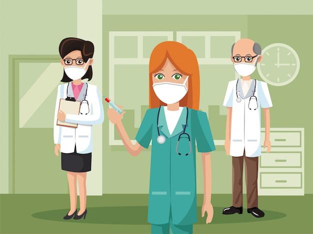 Grupo de médicos con máscaras médicas