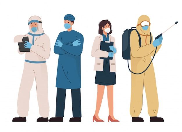 Grupo de médicos y personal médico con mascarilla y traje protector