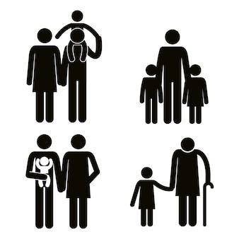 Grupo de miembros de la familia avatares siluetas