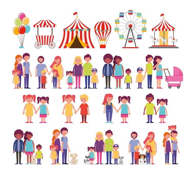 Grupo de miembros de la familia con mascotas e iconos de entretenimiento