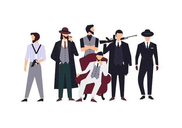 Grupo de miembros de la mafia o mafiosos vestidos con elegantes ropas retro o trajes formales y sosteniendo armas de fuego. personajes de dibujos animados masculinos planos aislados sobre fondo blanco. ilustración de vector colorido