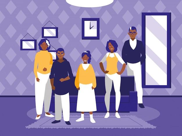Grupo de miembros negros de la familia en la sala de estar