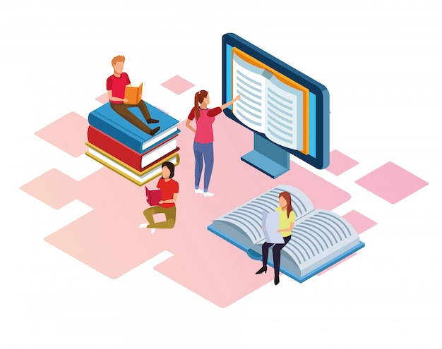 Grupo de mini personas leyendo libros de electrónica