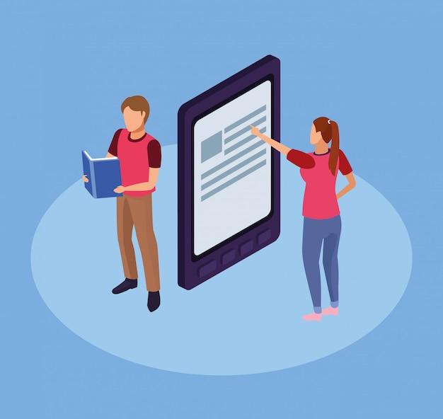 Grupo de mini personas leyendo libros electrónicos en tableta