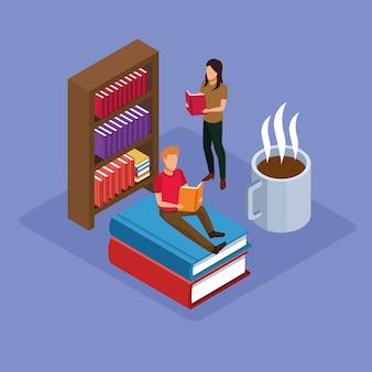 Grupo de mini personas leyendo libros