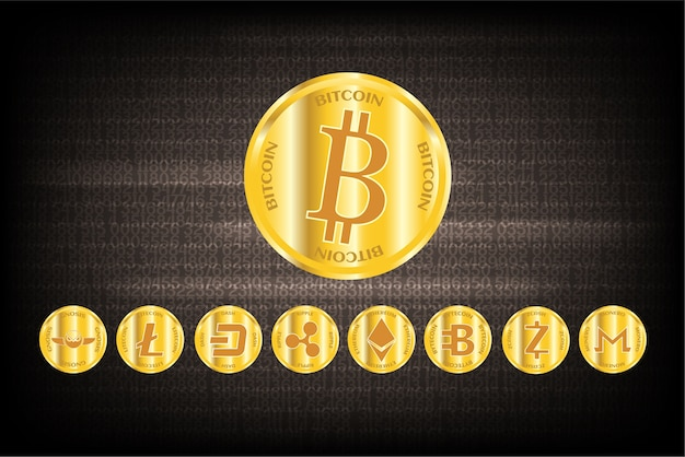 Grupo de moneda de oro criptomoneda.