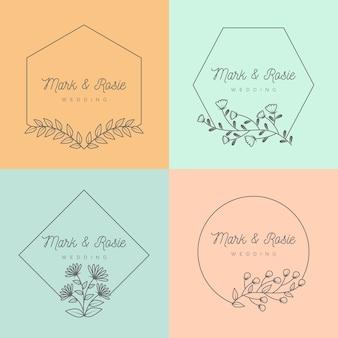 Grupo de monogramas de boda minimalista en colores pastel.