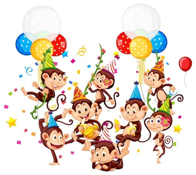 Grupo de monos en personaje de dibujos animados de tema de fiesta en blanco