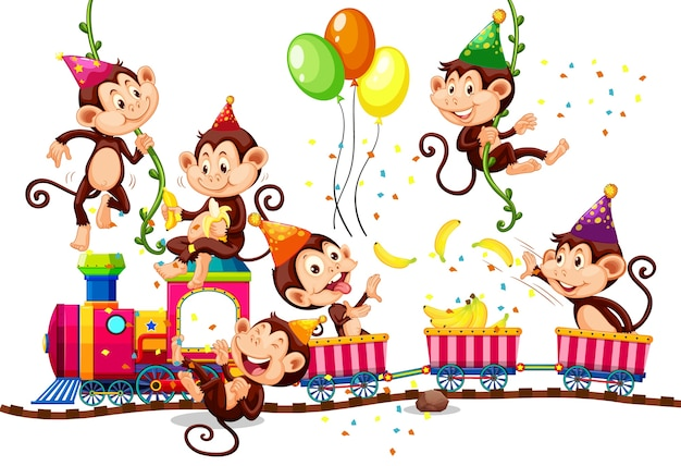 Grupo de monos en tema de fiesta aislado sobre fondo blanco.