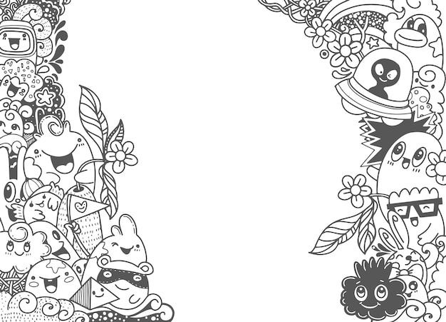Grupo de monstruo lindo feliz multicultural para su diseño. plantilla para folleto publicitario.