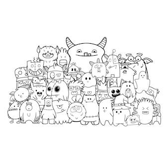 Grupo de monstruos divertidos dibujados a mano