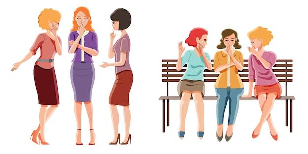 Grupo de mujer chismeando concepto