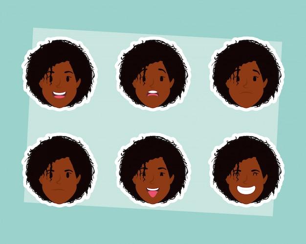Grupo de mujeres afro cabezas y expresiones