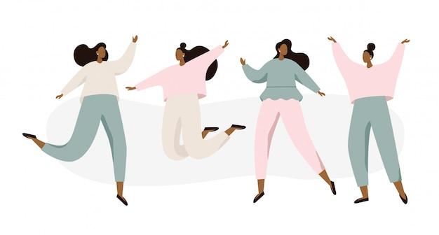 Grupo de mujeres bailando felices sobre fondo blanco.