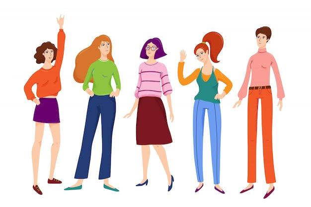 Grupo de mujeres bastante jóvenes, niñas de pie juntos, sonriendo, renunciando hola, retrato de cuerpo entero, ilustración vectorial aislado sobre fondo blanco.