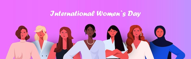 Grupo de mujeres celebrando el 8 de marzo banner del día de la mujer.