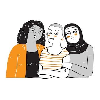 Un grupo de mujeres de diferentes etnias y culturas. ilustración de dibujo en estilo lineal