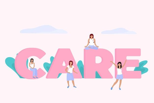 Un grupo de mujeres diminutas con una cinta rosa en el pecho cerca de una enorme inscripción care. mes nacional de concientización sobre el cáncer de mama.