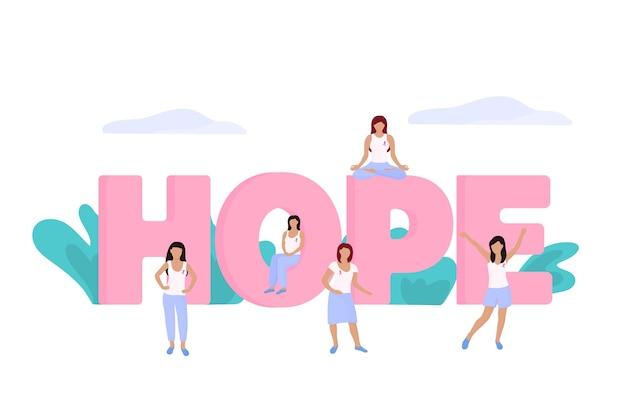 Un grupo de mujeres diminutas con una cinta rosa en el pecho cerca de una enorme inscripción hope. mes nacional de concientización sobre el cáncer de mama.