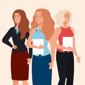 Grupo de mujeres empresarias elegantes juntos, diseño de ilustraciones