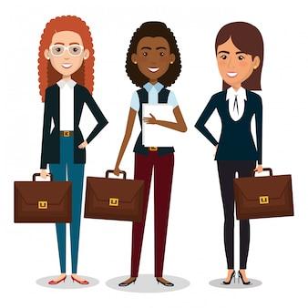 Grupo de mujeres empresarias con ilustración de trabajo en equipo de cartera