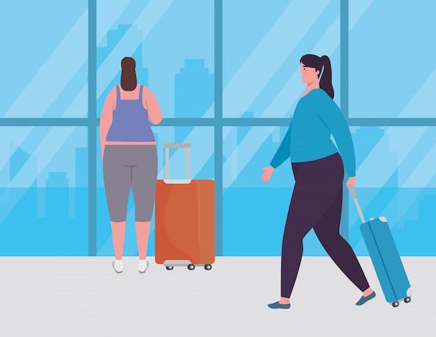 Grupo de mujeres con equipajes en la terminal del aeropuerto, pasajeros femeninos en la terminal del aeropuerto con equipajes, diseño de ilustraciones vectoriales