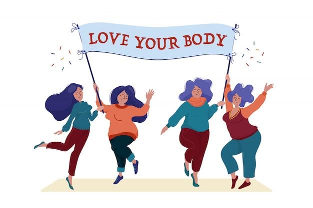 Grupo de mujeres felices sosteniendo la pancarta con la ilustración de texto love your body