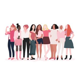 Grupo de mujeres fuertes vector