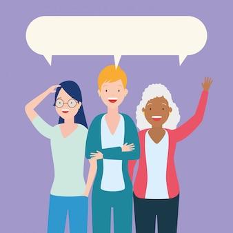 Grupo de mujeres hablando