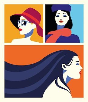 Grupo de mujeres hermosas personajes de moda