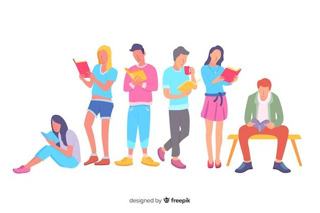 Grupo de mujeres y hombres leyendo ilustración