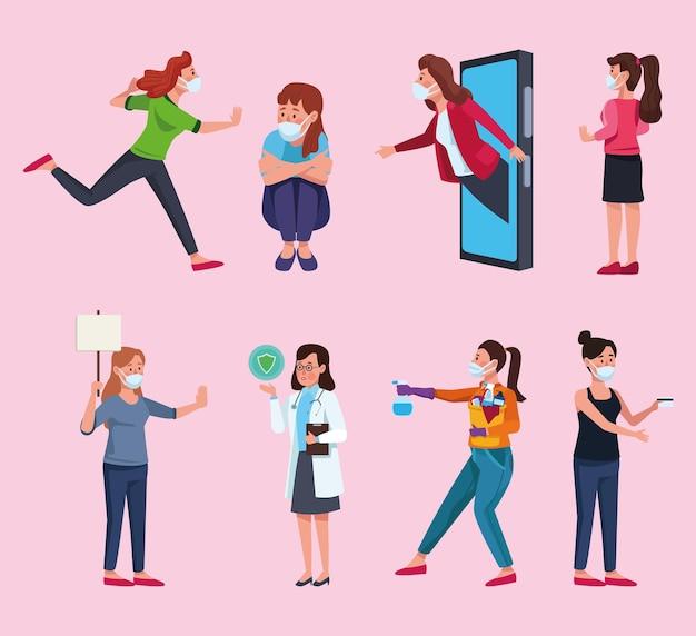 Grupo de mujeres con ilustración de personajes de máscaras médicas