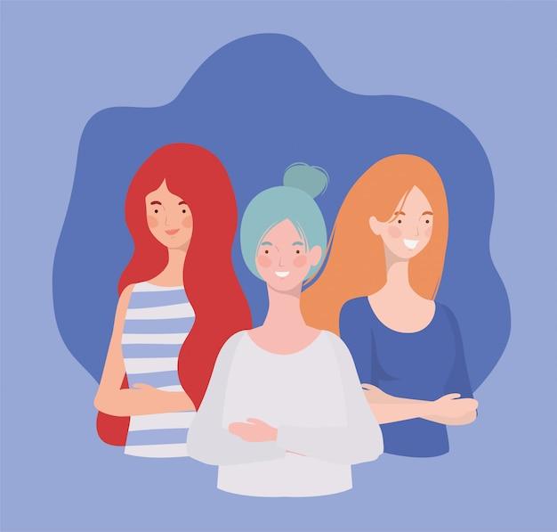 Grupo de mujeres jóvenes de pie personajes
