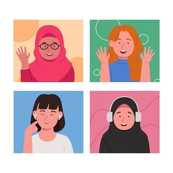 Grupo de mujeres jóvenes videollamadas ilustración de dibujos animados plana