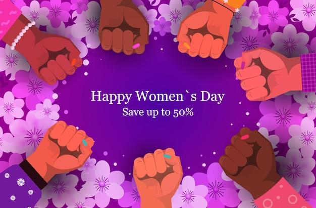 Grupo de mujeres levantando los puños para el banner de venta del día de la mujer del 8 de marzo