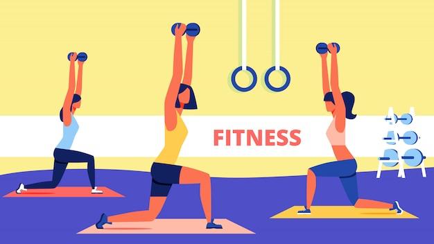 Grupo de mujeres con mancuernas en las manos haciendo fitness