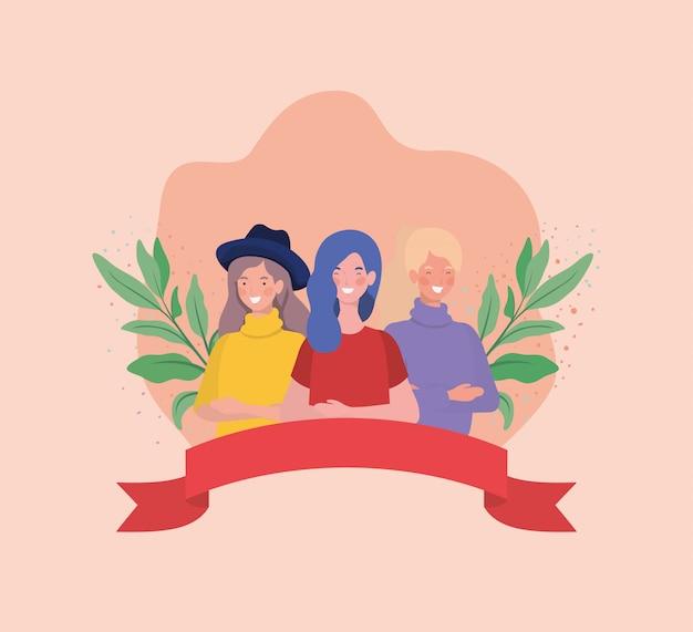 Grupo de mujeres de pie con cinta y hojas