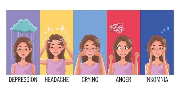 Grupo de mujeres con síntomas de estrés, diseño de ilustraciones vectoriales