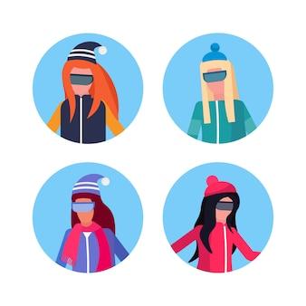 Grupo de mujeres vestidas con ropa de invierno