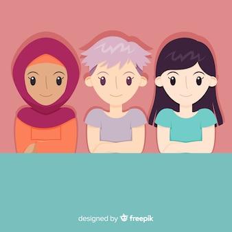Grupo de mujers de dieferentes nacionalidades con diseño plano