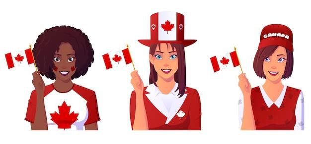 Grupo multicultural de mujeres celebrando el día de canadá.