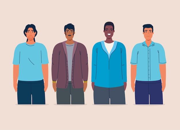 Grupo multiétnico de hombres juntos, concepto de diversidad y multiculturalismo