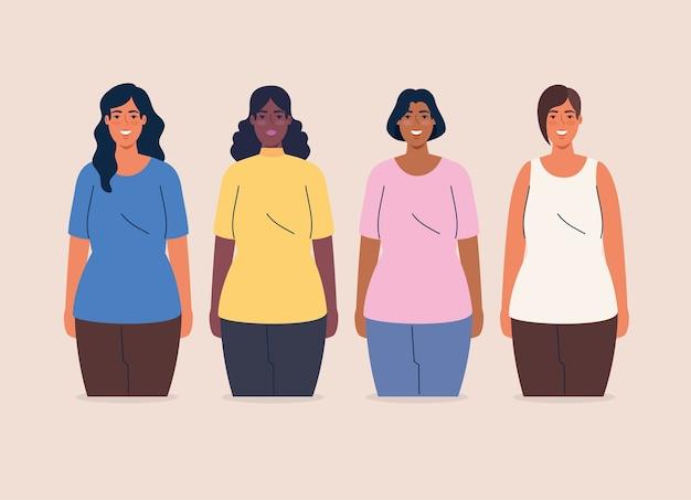 Grupo multiétnico de mujeres juntas, concepto de diversidad y multiculturalismo