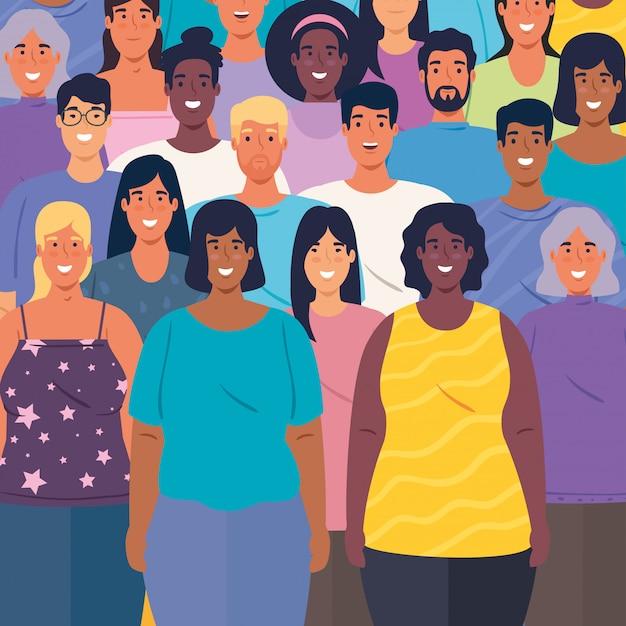Grupo multiétnico de personas juntas antecedentes