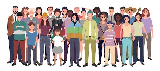 Grupo multinacional de personas aisladas en blanco