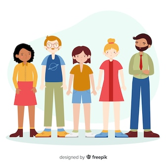Grupo multirracial de personas de diseño plano.