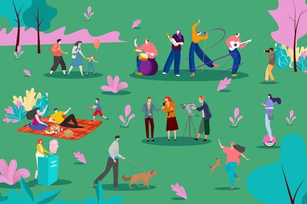 Grupo musical realizar en el parque, ilustración. la gente escucha canciones instrumentales en la naturaleza, picnic y personajes ambulantes.