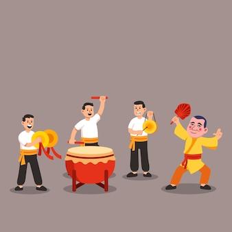 Grupo de músico tradicional chino realizando ilustración