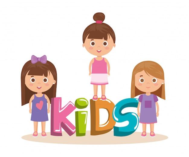 Grupo de niñas con caracteres de palabras